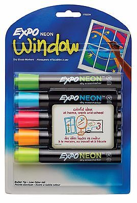 EXPO Neon Dry Erase Markers Assorted Colors Bullet Tip 5 Count SAN1752226