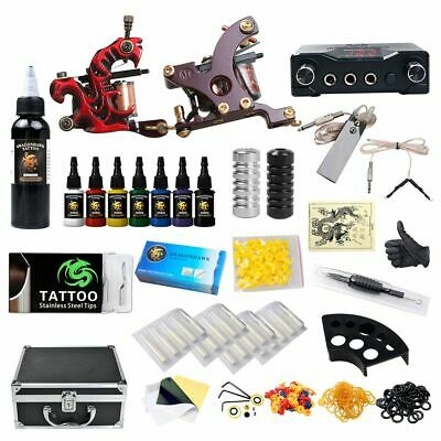 Professional Complete Tattoo Kit 2 Top Machine Gun 8 Color Ink 50 Needle