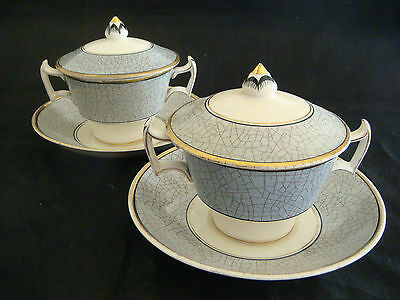 Pair of Art Deco Booths 'Old Ivory' Twin Handled Soup Bowls with Lids