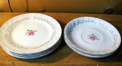 Set of 3 Fine China of Japan Royal Swirl Salad Plates Pink Roses 2 Saucers