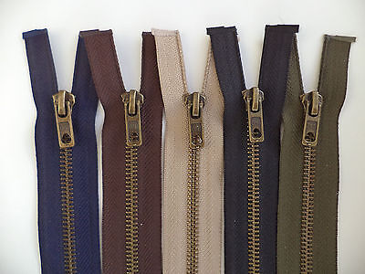Antique Brass Metal Open Ended Zip Fastener No 5 Weight - 5 Colours and Lengths