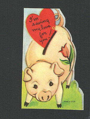 Vintage Valentines Card Cute Pig Piggy Bank I'm SAVING My LOVE for YOU!