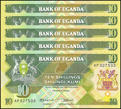 Uganda 10 Shillings X 5 Pieces - PCS, 1987,  P-28, UNC
