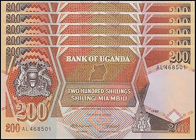Uganda 200 Shillings X 5 Pieces (PCS), 1987,  P-32a, UNC