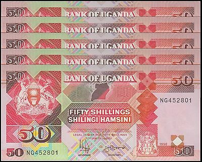 Uganda 50 Shillings X 5 Pieces (PCS), 1998,  P-30c, UNC