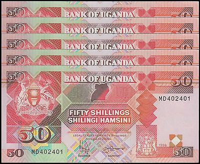 Uganda 50 Shillings X 5 Pieces (PCS), 1996,  P-30c, UNC