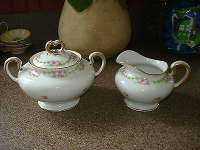 LIMOGES FRANCE FOOTED CREAMER AND SUGAR  PINK ROSES   SIGNED NICE