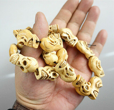 Rare Chinese Culture Bone Hand-Carved skulls To ward off bad luck Necklaces