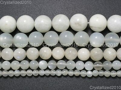 Natural White Moonstone Gemstone Round Beads 4mm 6mm 8mm 10mm 12mm 14mm 15.5""