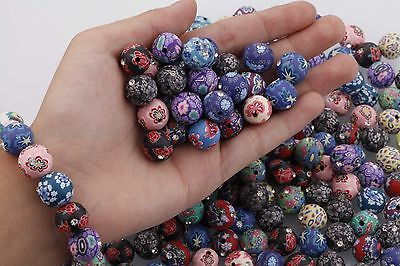 Charms Beads Polymer Clay Crystal Flower Round Loose 30PCS Mixed Color 12mm