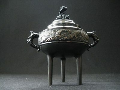 Japanese Dragon and Leo copper Censer -Takaoka Bronze Products- Signed Zuiho