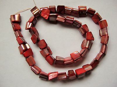 """Salmon pink MOP mother of pearl shell square beads 8mm 16"""""""