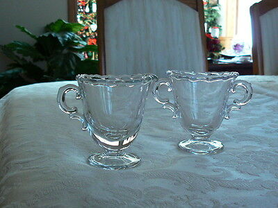 Lovely Vintage Clear Glass Scalloped Top Sugar and Creamer