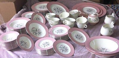 Homer Laughlin -China- Romance/eggshell/cavalier Pink serving for 12 / 93 Pieces