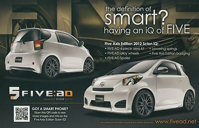 2012 Scion iQ Fie Axis Edition ORIGINAL Large Factory Postcard my2347