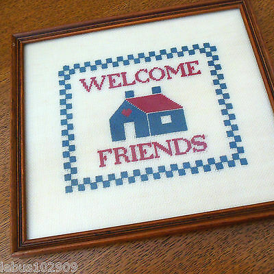 Framed Welcome Friends Sampler Embroidery Floss on Needlepoint Canvas 1980's