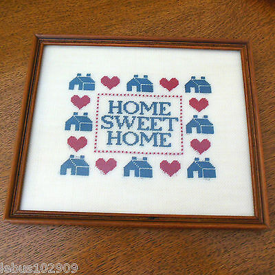 Framed Home Sweet Home Sampler Embroidery Floss on Needlepoint Canvas 1980's
