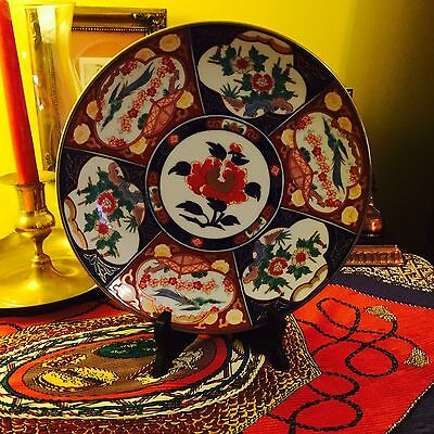 """EXQUISITE GOLD IMARI JAPANESE 9 1/2"""" CHARGER HANGING PLATE HAND PAINTED"""