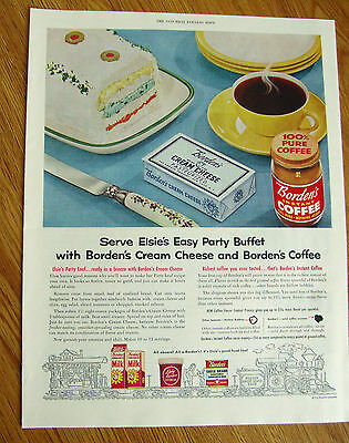 1954 Borden's Instant Coffee Ad Elsie's Easy Party Buffet Cream Cheese & Coffee