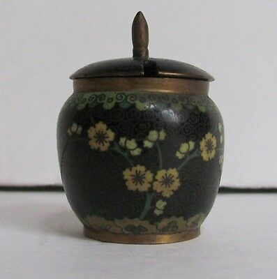 Small Vintage Chinese Cloisonne Covered Hinged Jar Pot