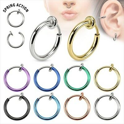Septum Ear Cuff Ring Spring Action Fake IP Titanium Cheater 1PC OR 2PCS Clip On