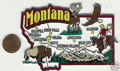 JUMBO   MONTANA   MT STATE  MAP  TOURIST MAGNET   7 COLOR  HELENA BUTTE BILLINGS