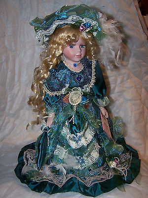 """COLLECTIBLE VICTORIAN STYLE PORCELAIN DOLL BY J. MISA-16"""" PARASOL"""