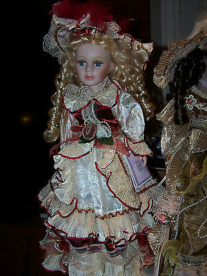 """COLLECTIBLE VICTORIAN STYLE PORCELAIN DOLL BY J. MISA-16"""" HAND BAG"""