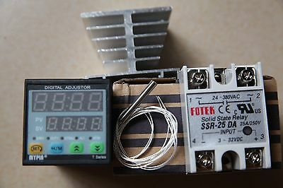Manual/ Auto-tuning PID Temperature Controller TD4-SSR +PT100+25A DA +Heat Sink
