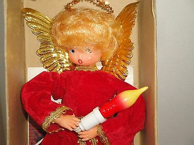 Vtg XMAS HTF 1971 Tree Topper Angel Red Mr. Lighted Japan 12 Inch Wing Flame