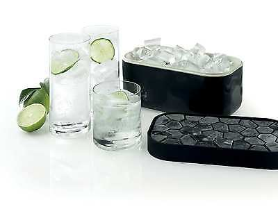 Lékué Silicone Ice Cube Tray and Storage Box, Black