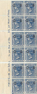 Stamps 1882 NSW 2d blue sideface OS 3 x blocks of 4, SG021c marginal text MUH