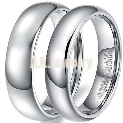 3/5/6/8/12mm Tungsten Carbide Wedding Band Promise Ring+Chain Jewelry Gift
