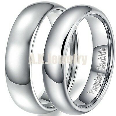 3/5/6/8/12mm Tungsten Carbide Wedding Band Promise Ring+Chain Thanks Giving Gift