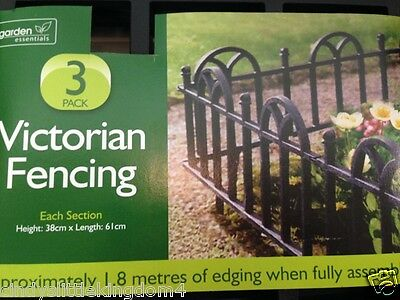 Victorian black garden fencing pack of 3 approx 1.8m when assembled