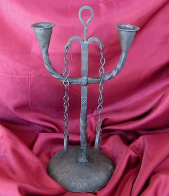 1850s ANTIQUE HAND FORGED IRON DUAL CANDLEBAR CANDLESTICK VERY RARE