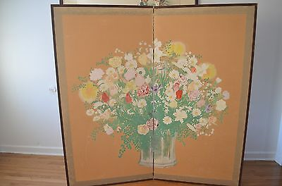 Antique Old Japan 19Th 20Th C 2 Panel Screen Hand Painting on Jangi Paper