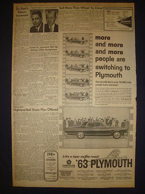 CHRYSLER AUTOMOBILE NEWSPAPER ADVERT MARCH 19 1963 D20121237