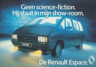 1985 Renault Espace Van ORIGINAL Factory Postcard Dutch my2389