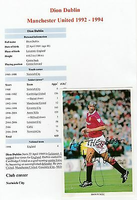 Dion Dublin Manchester United 1992-1994 Original Signed Magazine Picture Cutting