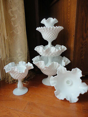 Milk Glass Hobnail Fenton Compote Candy Nut Candle Dish Ruffle Rim Vintage
