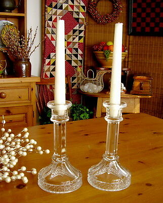 McKee Brothers c.1885 EAPG Clear Glass Column Shape Candleholders CANE PATTERN