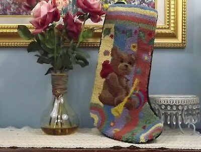 "STOCKING TEDDY BEAR  100% WOOL HOOKED 20""  CHRISTMAS   B100"