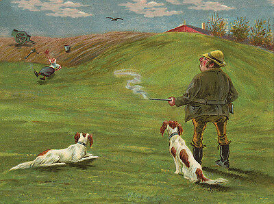Irish Red And White Setter Dog Greetings Note Card Man With Dogs & Gun Comical