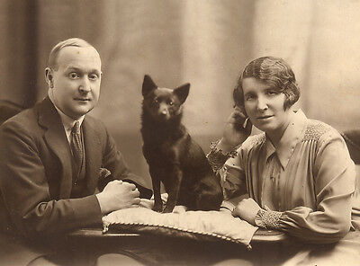 Schipperke Charming Dog Greetings Note Card Man & Lady With Dog Sitting By Them