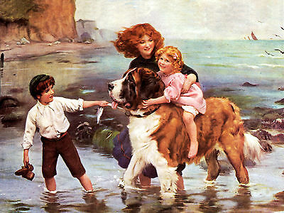 Saint Bernard And Group Of Children At Seaside Charming Dog Greetings Note Card