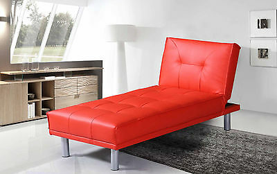 Modern Chaise Longue Sofa Fold Down Chair Bed 1 Seater Single Red Faux Leather