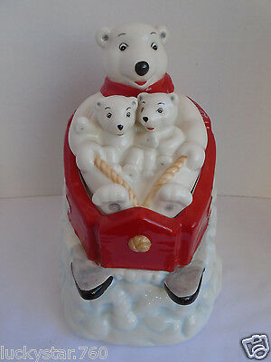 Gibson Coca Cola Sledding  Polar Bear Cookie Jar