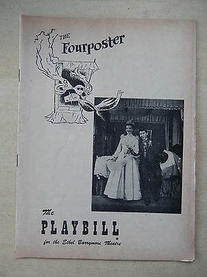 November 1952 - Ethel Barrymore Theatre Playbill w/Ticket - The Fourposter