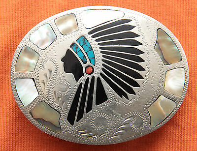 Vtg Johnson Held Indian Chief Turquoise Abalone Coral Inlay Western Belt Buckle